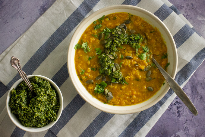 Red Lentil and Butternut Squash with Spicy Coriander Pesto