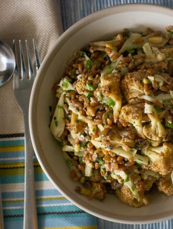 Farro Salad with Cauliflower, Fennel and Tahini Dressing