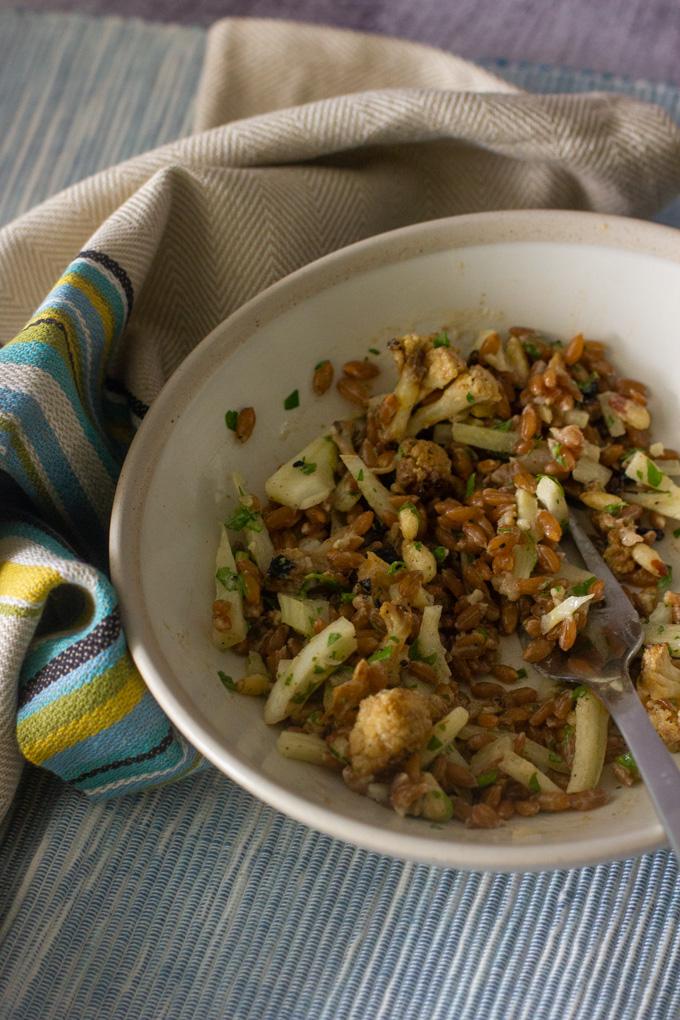 Farro Salad with Cauliflower, Fennel and Tahini Dressing