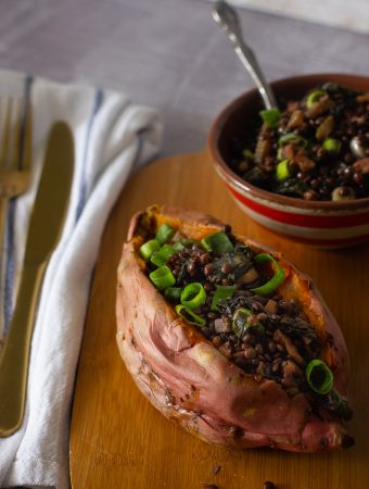 Lentils and Kale Stuffed Baked Sweet Potato
