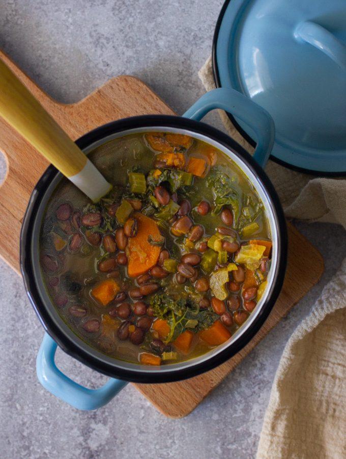 Vegan Adzuki Bean, Kale and Sweet Potato Soup