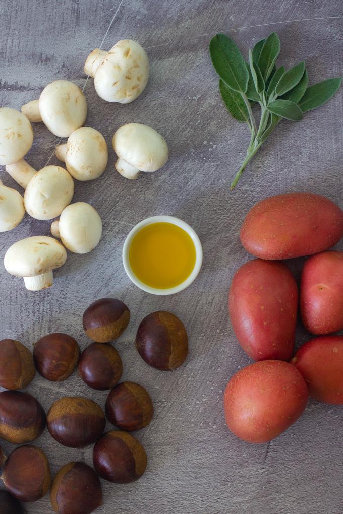תפוחי אדמה עם פטריות וערמונים
