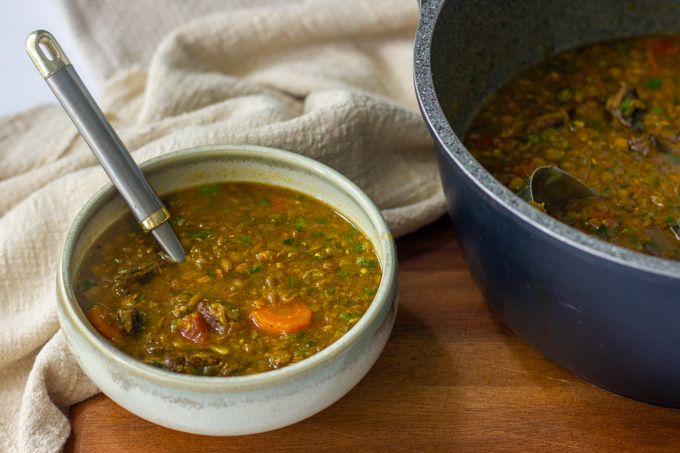 Green lentil and mushroom soup